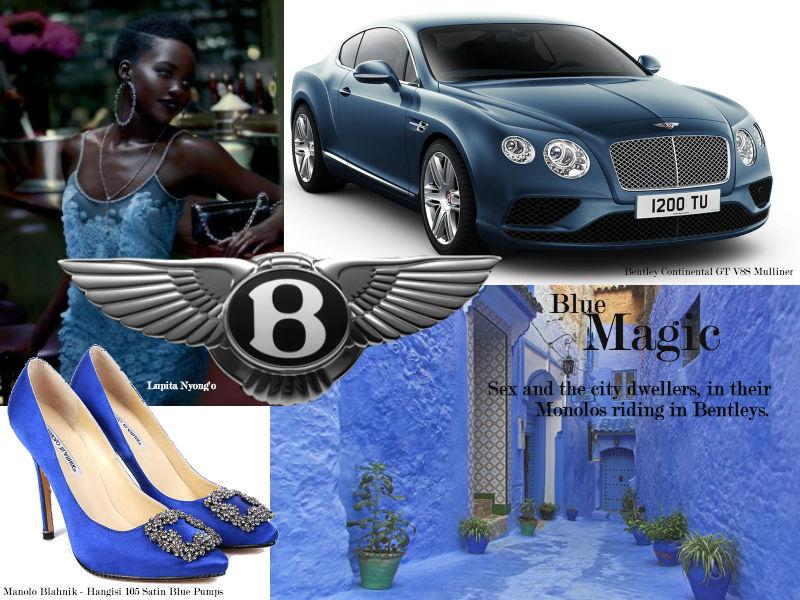 Bentley Manolos Blahnik collage Lux Afrique